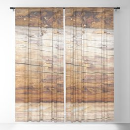 Wooden Log Wall Of A Vintage Cabin Sheer Curtain