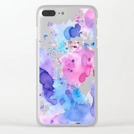 Color splash, pink, blue and purple palette Clear iPhone Case
