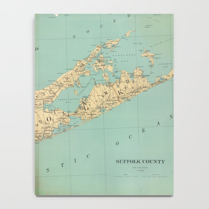 Vintage Map of Suffolk County NY (1895) Notebook