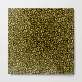 Gold & Copper Triangular Art Deco Black Diamond Design Pattern Metal Print