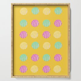 Mexican pan dulce conchas mustard background pattern Serving Tray