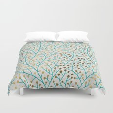 Berry Branches – Turquoise & Gold Duvet Cover