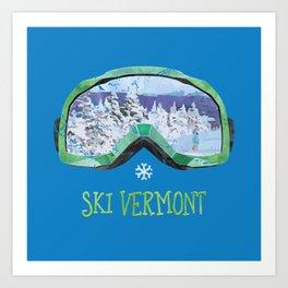 Ski Vermont Ski Goggles — Green Art Print