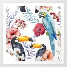 Tropical Bird Pattern 01 Art Print