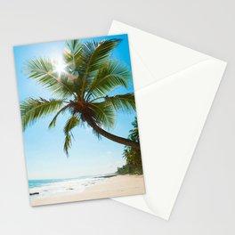 Palm tree coast tropical island summer travel seascape ocean caribbean Stationery Cards