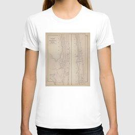 Vintage Map of Sea bright & Monmouth NJ (1873) T-shirt