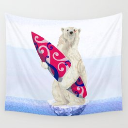 Polar bear & Surf (tribal pink) Wall Tapestry