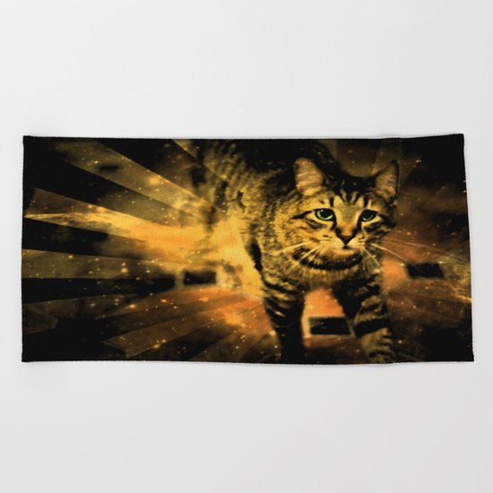 Cat Fire Of The Crossing Oblivion Beach Towel