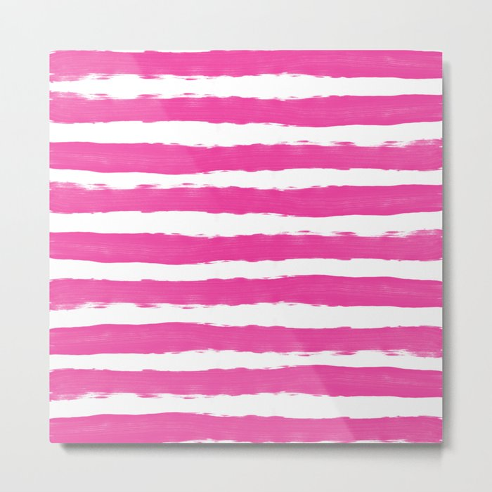 Simple pink and white hand drawn stripes - horizontal - for your summer on #Society6 Metal Print