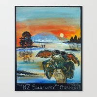 gremlins Canvas Prints featuring The NZ Sanctuary For Gremlins by Tony Heath