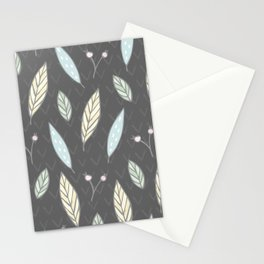 The one with the leaves - Gray Stationery Cards