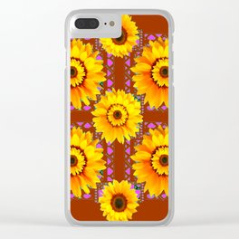 CINNAMON COLOR YELLOW SUNFLOWERS ART Clear iPhone Case