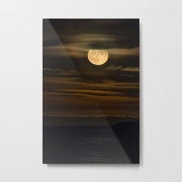 An HDR Close Up on the Moon Rising over Lake Superior Metal Print