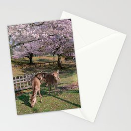 Sakura and deers Stationery Cards