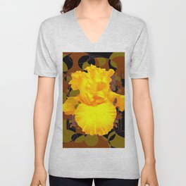 Decorative Modern Golden Iris Brown-Black Pattern Floral Unisex V-Neck
