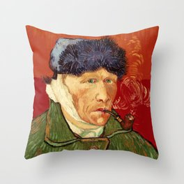 Vincent van Gogh Self-portrait with Bandaged Ear and Pipe Throw Pillow