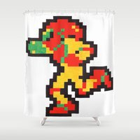samus Shower Curtains featuring samus by Walter Melon