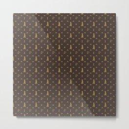 Louis Pitbull Luxury Dog Bling Pattern Metal Print