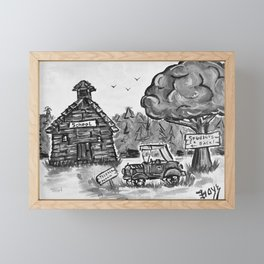 School House, Black and White Print of Primitive Art, Painting by Faye Framed Mini Art Print