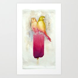 Raspberry Canary Popsicle Art Print