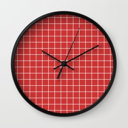 Persian red - red color - White Lines Grid Pattern Wall Clock