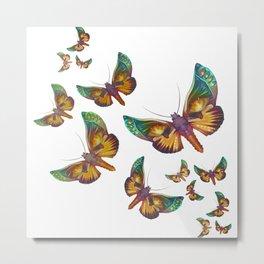 """Fantasy multicolored butterflies"" Metal Print"