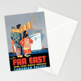 Vintage travel poster - White Empress Route Stationery Cards