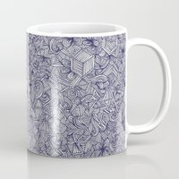 bedding Mugs featuring Held Together - a pattern of navy blue doodles by micklyn