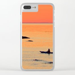 Kayak and Birds under Orange Skies Clear iPhone Case