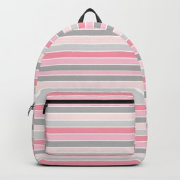 Gray and Pink Striped Pattern Backpack