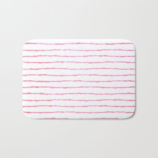 fine pink handpainted stripes on clear white Bath Mat
