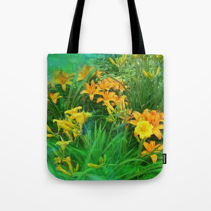 Day-glo Lilies Tote Bag