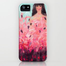 Pink Thoughts (A girl with flamingos) iPhone Case