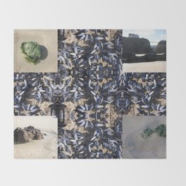 Cornwall Mussels and other Low Tide Beach Photo Composite Newquay Cornwall Throw Blanket