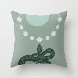 Snake And Sun - Mid-Century Minimalist Graphic Green Throw Pillow