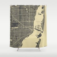 miami Shower Curtains featuring Miami Map by Map Map Maps