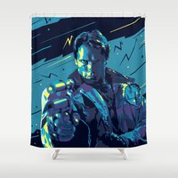 terminator Shower Curtains featuring The Terminator // Evil Villians by mergedvisible