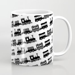 Black and White Wooden Toy Trains Pattern Coffee Mug