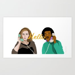 Two People Saying Hello - By Cup of Sarcasm Art Print