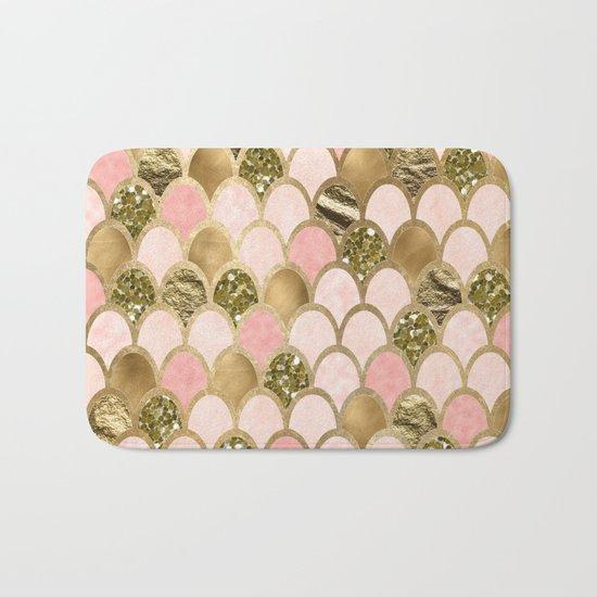 Rose gold blush mermaid scales Bath Mat