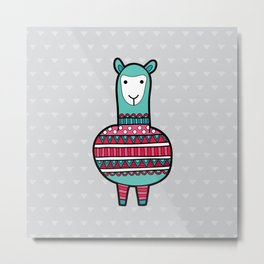 Doodle Alpaca on Grey Triangle Background Metal Print