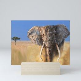 Charging bull elephant Mini Art Print