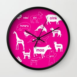 Animal Noises in Pink Wall Clock