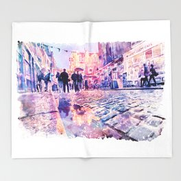 Dublin Watercolor Streetscape Throw Blanket
