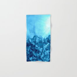 INTO ETERNITY, TURQUOISE Colorful Aqua Blue Watercolor Painting Abstract Art Floral Landscape Nature Hand & Bath Towel