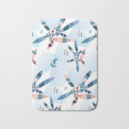 Abstract blue and pink feathers Bath Mat