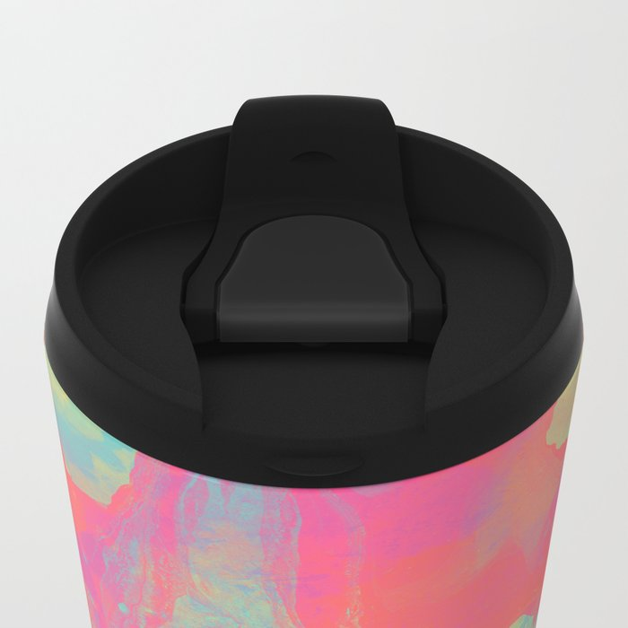 Neon Marble Metal Travel Mug