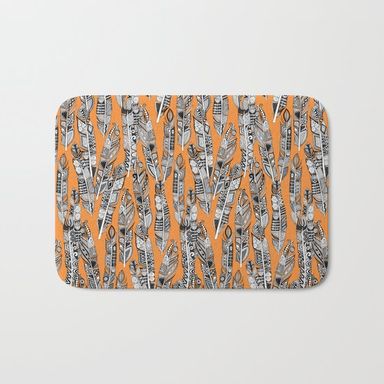 geo feathers orange Bath Mat