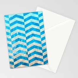 Aquatic Gradient -Wide Cevrons Stationery Cards