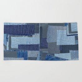 Boroboro Blue Jean Japanese Boro Inspired Patchwork Shibori Beach Towel